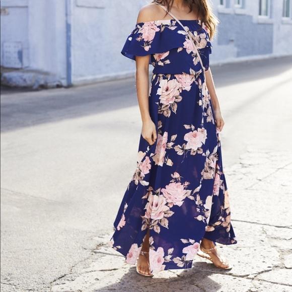 313d1ec3c8 Premier Amour Dresses | Floral Off The Shoulder Maxi Dress | Poshmark